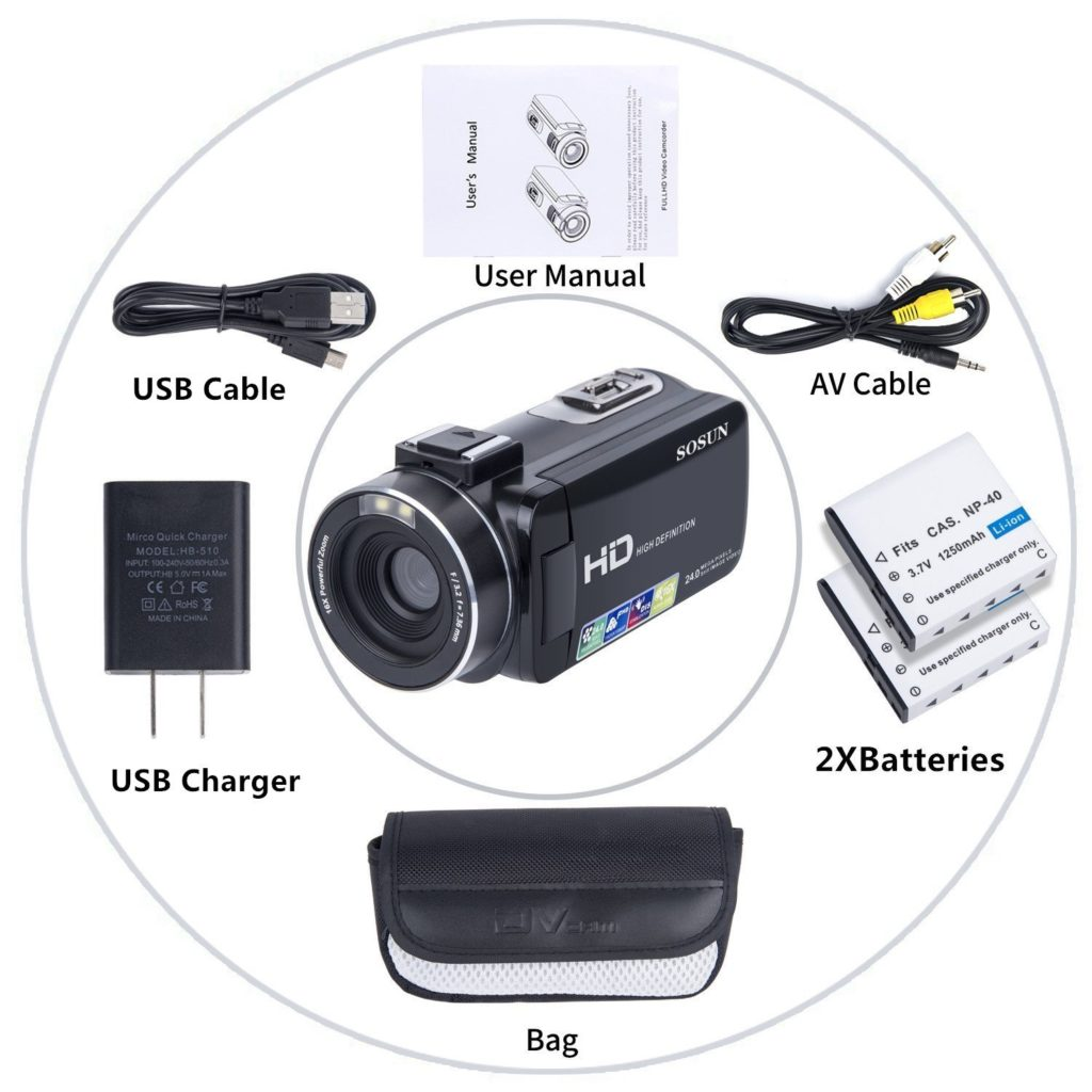 SOSUN Camcorder package