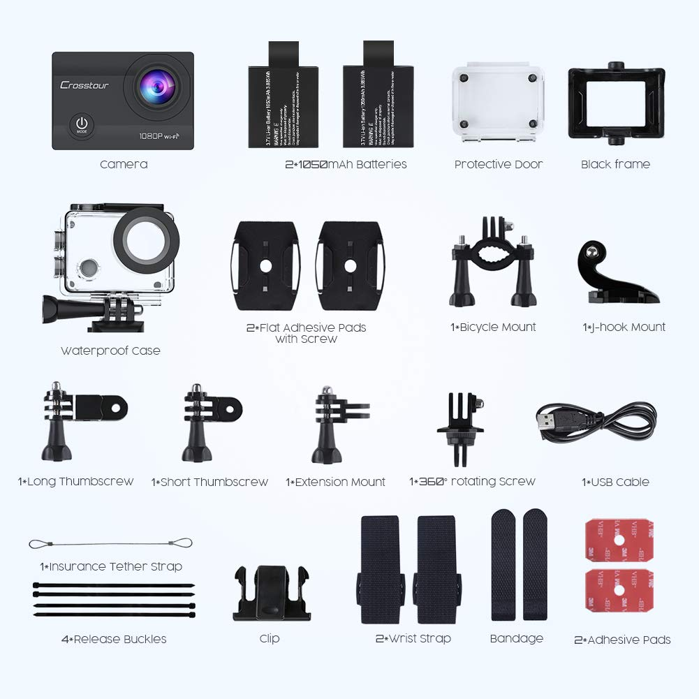 Crosstour Action Camera package items